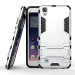 Hard Slim Armor Hybrid Kickstand Protective Cover Case for LG X Power K210 / K6P - Silver
