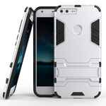 Hybrid Armor Defender Kickstand Protective Cover Case For Google Pixel XL 5.5inch - Silver