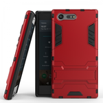 Rugged Armor Shockproof Protective Kickstand Cover Cases for Sony Xperia X Compact - Red