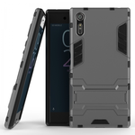 Slim Armor Shockproof Hybrid Kickstand Protective Cover Cases For Sony Xperia XZ - Gray