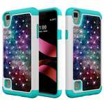 Diamond Bling Hybrid Armor Protector Cover Case for LG X Style / LG Tribute HD LS676 - Nebula