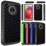 Carbon Fiber Design Hard Skin Hybrid Rubber Case Phone Cover For Motorola MOTO E4 2017 (US Version)