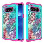 Crystal Bling Design Hybrid Armor Protective Case Cover For Samsung Galaxy Note 8 - Teal & Rose