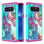 Hybrid Dual Layer Shockproof Defender Phone Case Cover For Samsung Galaxy Note 8 - Teal Flower
