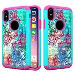 Crystal Bling Diamond Hybrid Armor Defender Dual Layer Shockproof Case for iPhone X - Teal Flower
