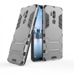 Slim Armor Stand Shockproof Hybrid Rugged Rubber Hard Back Case for LG G7 ThinQ - Gray