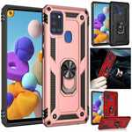 For Samsung Galaxy S21 Ultra S21+ A21S A71 5G Shockproof Armor Ring Holder Stand Case Cover
