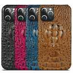 For iPhone 13 12 Mini Pro Max Case Genuine Cow Leather Crocodile Back Cover