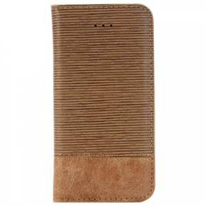 Cross Pattern Crazy Horse Leather Flip Stand Case for iPhone 7 4.7 inch - Brown