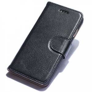 Litchi Grain Genuine Leather Wallet Cover Case with Card Slot for iPhone 7 Plus 5.5 inch - Black