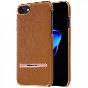NILLKIN Leather Skin PC Kickstand Shell Mobile Phone Case for iPhone 7 4.7 inch - Brown