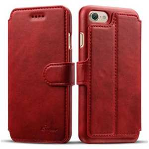 Crazy Horse Leather Flip Wallet Stand Case Cover for iPhone 8 Plus 5.5 Inch - Red
