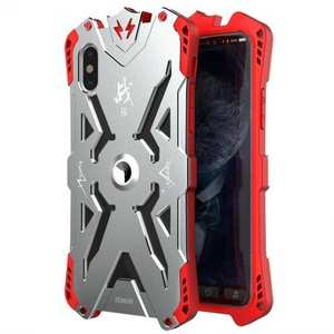 Shockproof Aluminum Metal + TPU Hybrid Case for iPhone XS / X - Silver&Red
