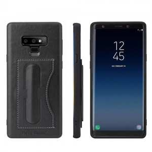 For Samsung Galaxy Note 9 Kickstand Card Pocket Leather Case Back Cover - Black