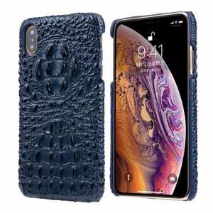 For iPhone XS Max Crocodile Head Pattern Genuine Leather Back Case Cover - Dark Blue