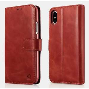 ICARER Genuine Leather Detachable 2 in 1 Wallet FolioCase For iPhone XS - Red