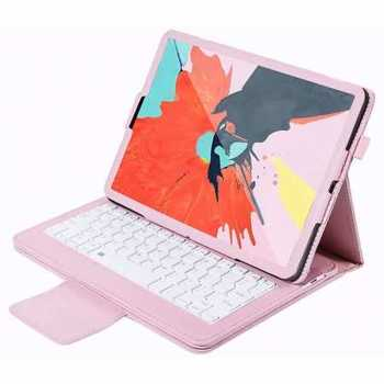 Detachable Wireless Bluetooth Keyboard Stand Leather Case For iPad pro 11-inch 2020- Pink