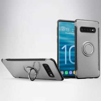 Ring Stand Car Magnetic Silicone Case Cover For Samsung Galaxy S10 - Grey