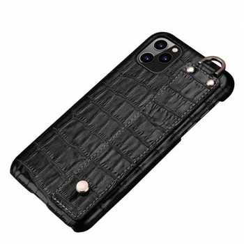 For iPhone 11 Pro Max Genuine Leather Case Crocodile Bracelet Holder Cover - Black