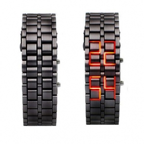 Iron Faceless Red Binary LED Wrist Watch Black