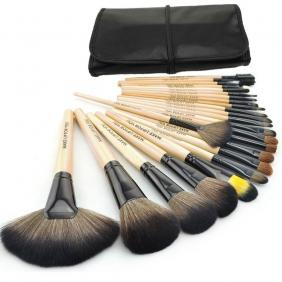 24 Pcs Professional Make Up Makeup Cosmetic Brush Set with Leather Case - Wooden Color