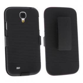 Hard Plastic Cover With belt clip holster and kickstand Combo Case for Samsung Galaxy S4 SIV i9500 - Black