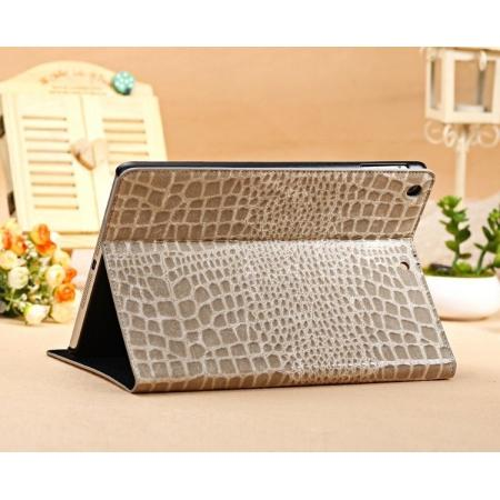 Luxury Crocodile Skin Pattern Leather Stand Case for iPad Air - Grey