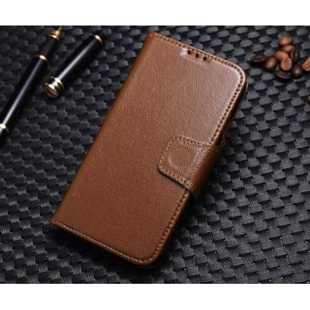 Luxury Wallet Genuine Real Cowhide Leather Stand Case for Samsung Galaxy S4 IV I9500 - Brown