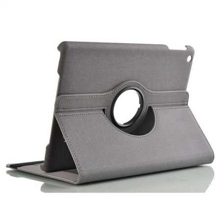 Newest 360 Degree Rotating Leather Stand Case w/ Holder for iPad Air - Grey