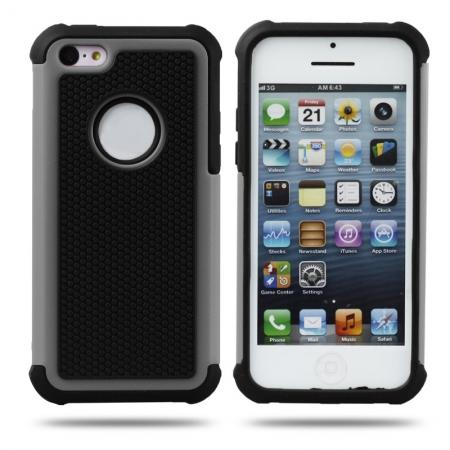 Rugged Impact Hybrid Hard Back Case Cover For iPhone 5C - Grey