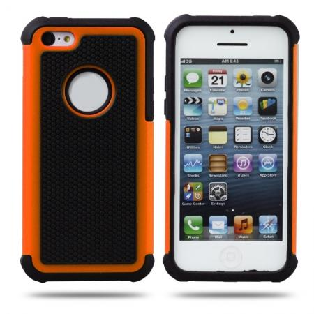 Rugged Impact Hybrid Hard Back Case Cover For iPhone 5C - Orange