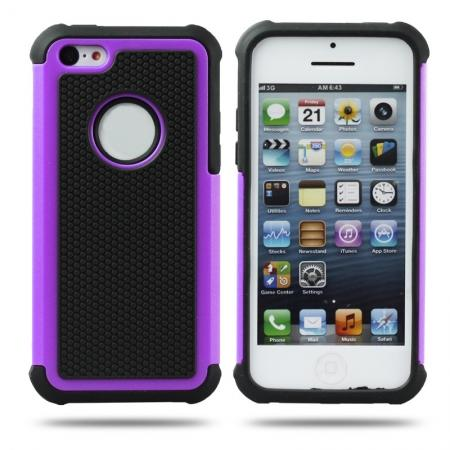 Rugged Impact Hybrid Hard Back Case Cover For iPhone 5C - Purple
