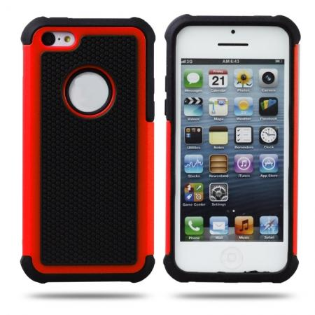 Rugged Impact Hybrid Hard Back Case Cover For iPhone 5C - Red