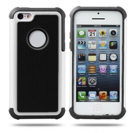 Rugged Impact Hybrid Hard Back Case Cover For iPhone 5C - White