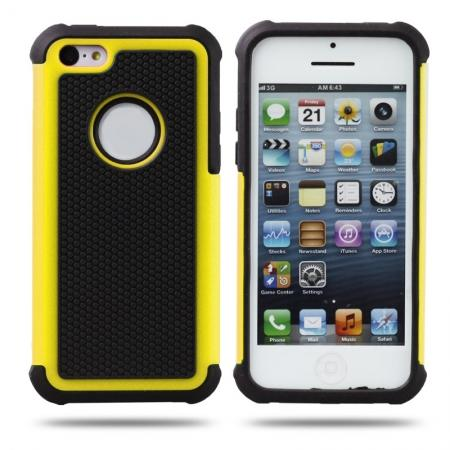 Rugged Impact Hybrid Hard Back Case Cover For iPhone 5C - Yellow