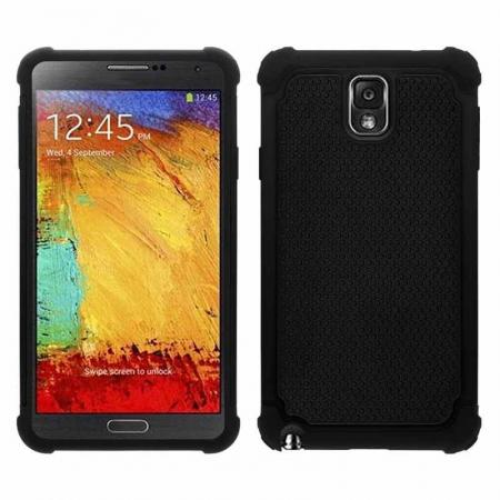 Rugged Impact Hybrid Hard Back Case Cover For Samsung Galaxy Note 3 III N9000 - Black
