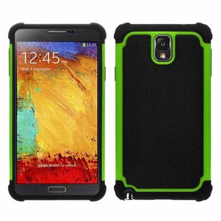Rugged Impact Hybrid Hard Back Case Cover For Samsung Galaxy Note 3 III N9000 - Green