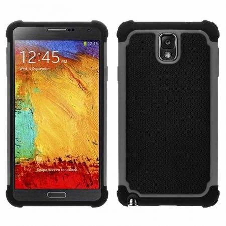Rugged Impact Hybrid Hard Back Case Cover For Samsung Galaxy Note 3 III N9000 - Grey