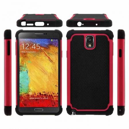 Rugged Impact Hybrid Hard Back Case Cover For Samsung Galaxy Note 3 III N9000 - Red