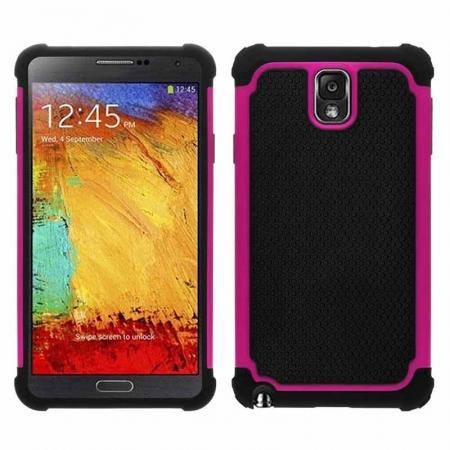 Rugged Impact Hybrid Hard Back Case Cover For Samsung Galaxy Note 3 III N9000 - Rose red
