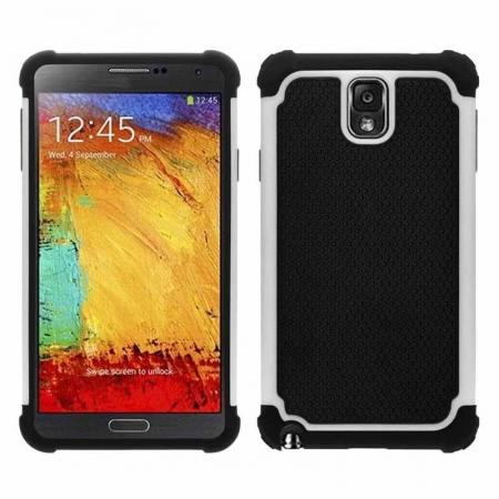 Rugged Impact Hybrid Hard Back Case Cover For Samsung Galaxy Note 3 III N9000 - White