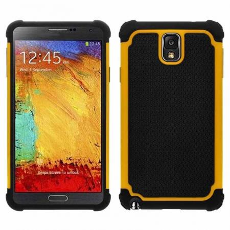 Rugged Impact Hybrid Hard Back Case Cover For Samsung Galaxy Note 3 III N9000 - Yellow