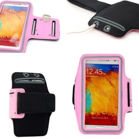 Sports Gym Running Arm Band Armband Case Cover For Samsung Galaxy Note 3 N9000 - Pink