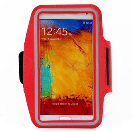 Sports Gym Running Arm Band Armband Case Cover For Samsung Galaxy Note 3 N9000 - Red