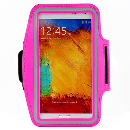 Sports Gym Running Arm Band Armband Case Cover For Samsung Galaxy Note 3 N9000 - Rose red