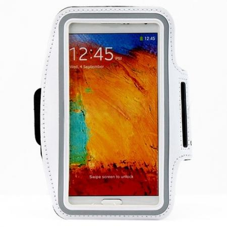 Sports Gym Running Arm Band Armband Case Cover For Samsung Galaxy Note 3 N9000 - White