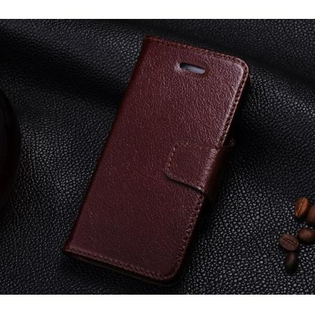 Top Quality Texture Flip Head Layer Cowhide Genuine Leather Case for iPhone SE/5/5S - Wine Red