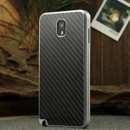 Aluminium Metal Bumper and Carbon fiber Protective back Case For Samsung Galaxy Note 3 N9000 - Silver/Black