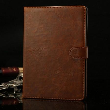 Luxury Crazy Horse Stand Leather Case for iPad Mini 2 Retina with Card Holder - Brown