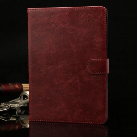 Luxury Crazy Horse Stand Leather Case for iPad Mini 2 Retina with Card Holder - Wine Red